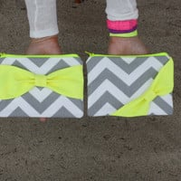 Neon Zipper Pouch / Makeup Bag - Gray Chevron with Fluorescent Yellow Side or Center Bow