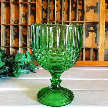 Pedestal Bowl, Glass Bowl, Compote, Candle Holder, Pressed Glass, Emerald, Depression Glass, Large Goblet, Glass Candy Dish, Holiday Glass