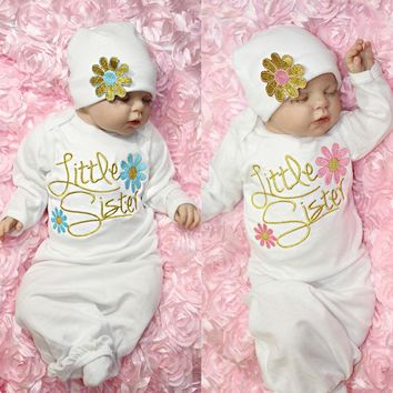 Newborn Baby Girl Take Home outfit Embroidery Christmas Gift Set Baby Gown USA