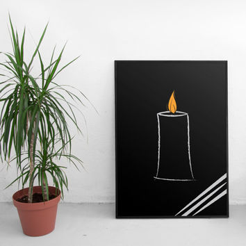 Scandinavian decor, Candle printable poster, minimalist wall art, modern home decor, downloadable print, illustration, wall print,