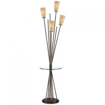 Possini Euro Four Light Asymmetry Floor Lamp with Tray Table - Opulentitems.com