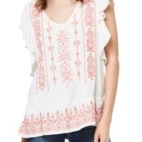 Sanctuary Ava Embroidered Flutter Sleeve Top | Nordstrom