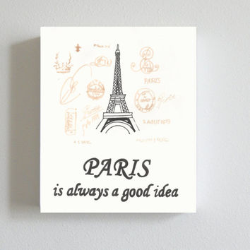 Paris decor, Art Print, Artist, Ink, office decor, dorm decor, home decor, Audrey Hepburn, Handmade, quote, word art, hand lettering