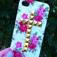 iPhone 5 5S Phone Case White Vintage Flower Gold Cross Studded Cover