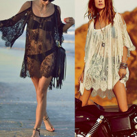 Beach Wear Swimwear Lace Bikini Cover Summer Mini Dress Tops - Black/White