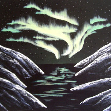 Original Landscape Painting Northern Lights by ABFoleyArtworks