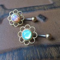 Mint Green Opal Emerald Belly Button Ring Navel Piercing Brass Stud Bar Barbell Daisy Flower