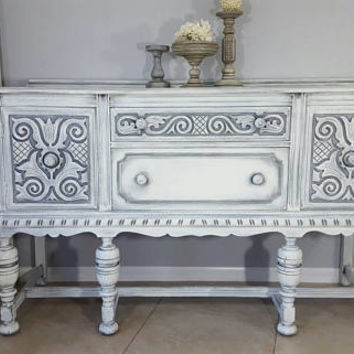 Antique Bernhardt/ J.B. Sciver Jacobean Buffet, Server, Sideboard Hand Painted in Layers of Gray and White Over Graphite