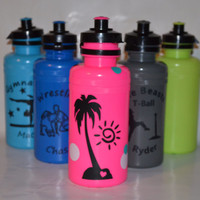 Fun summer PERSONALIZED water bottle with vinly names and design tropical palm tree. bright, cute. athlete: wrestling, gymnast & more CUSTOM