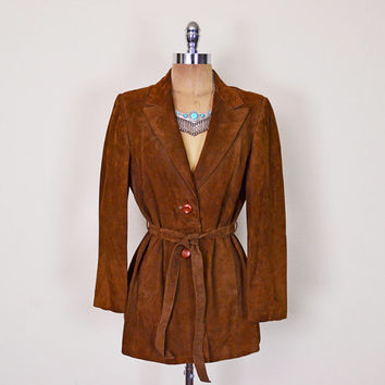 Vintage 70s Brown Leather Jacket Brown Suede Jacket Belt Belted Trench Coat Blazer 70s Jacket Hippie Jacket Hippy Jacket Boho Jacket Women M