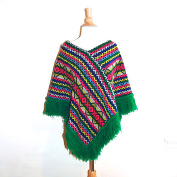 Vintage Poncho . Native American Mexican Poncho . Bright Colors . One Size Fits All