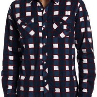 Quiksilver Men's Roost Long Sleeve Button Down Flannel Shirt 109902-Navy