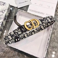 DIOR New Hot Sale Full Printed Letters Gold Buckle Men's and Women's High-end Belts