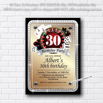 Poker Playing Card birthday invitation, Casino theme glitter golden design invitation for any age 30th 40th 50th 60th 70th 80th card 520