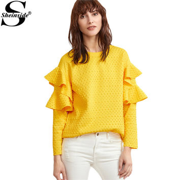 Sheinside Layered Ruffle Sleeve Blouses Women Yellow Polka Dot Embossed Cute Tops 2017 New Fashion Spring Casual Elegant Blouse