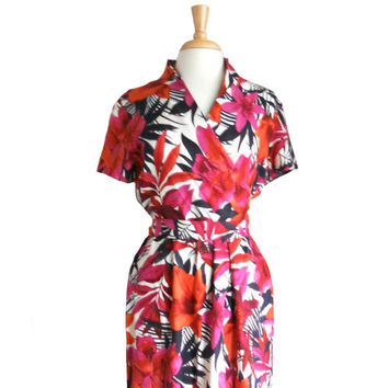 Vintage Summer Dress Hawaiian Floral Wrap Style With Belt Ties - Orange, Purple, Navy and White