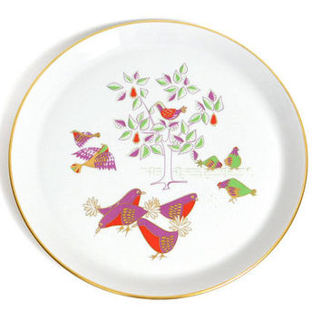 Mid Century Modern Christmas Plate - 1967 Shenango Twelve Days of Christmas- Four Calling Birds by Dick Litzel - Mod Holiday Dinner Dish