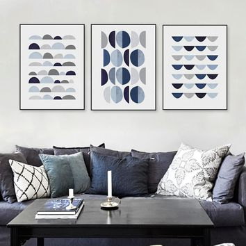 Modern Abstract Blue Geometric Shape A4 Art Print Poster Minimalist Hipster Wall Art Picture Nordic Home Decor Painting No Frame