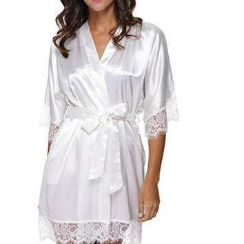 Sexy Bridesmaid Short Satin Bride Robe Lace Kimono Women Wedding 6ad571d5392f