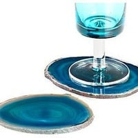 Agate Coaster - Peacock Set of 4 - modern - barware - - by Z Gallerie