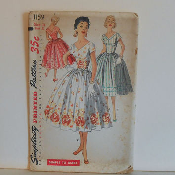 "Women's One Piece Dress Size 14 UNCUT Vintage 1950's Simplicity 1159 ""Simple to Make"" Sewing Pattern"