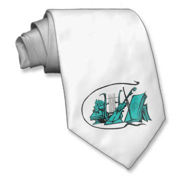 bust teal lyre violin sheet music design.png custom ties