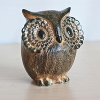 1970's Otagiri Owl Bank, Ceramic Owl Coin Bank Figurine, Rustic Pottery Bank Made in Japan