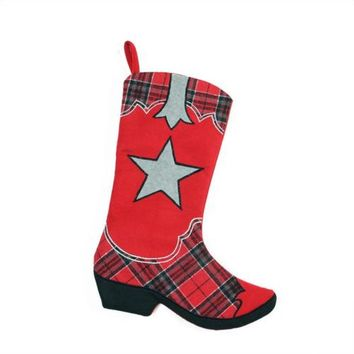 "18.5"" Wild West Embroidered Star Red and Black Plaid Cowboy Boot Christmas Stocking"