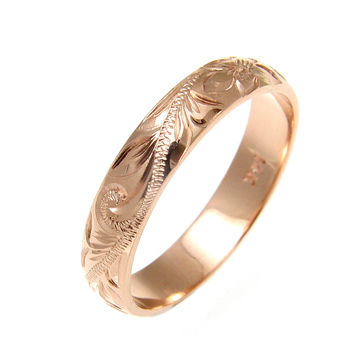 SOLID 14K ROSE GOLD CUSTOM HAND ENGRAVED HAWAIIAN PLUMERIA SCROLL BAND RING 4MM