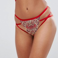ASOS Alina MULTICOLOR Applique Lace Thong at asos.com