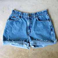 "80s Blue Jean Shorts High Waist Cut Off Denim Shorts Vintage CHIC 1980s MOM Shorts Frayed Hipster Boho Womens Medium 28"" Waist"