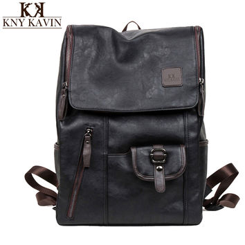 Women Backpacks Oil Wax Leather Backpacks Western Style Fashion Bag For Men Laptop&Travel Mochila Zip Casual Daypacks