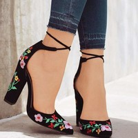 Flower Embroider Pointed Toe Lace up Cross-tie High Heel Pumps