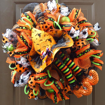 Halloween Deco Mesh Wreath - RAZ Witch's Hat and Legs Mesh Wreath - Halloween Mesh Wreath - RAZ Witch Mesh Wreath - Halloween Wreath