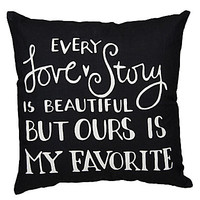Primitives By Kathy Every Love Story Decorative Pillow - Black/White