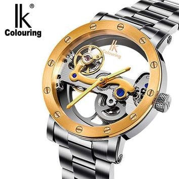 automatic mechanical self wind watch double-sided hollow steel table 50 meters waterproof watches 6 styles to choose from