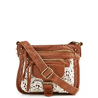 Crochet Inset Washed Crossbody