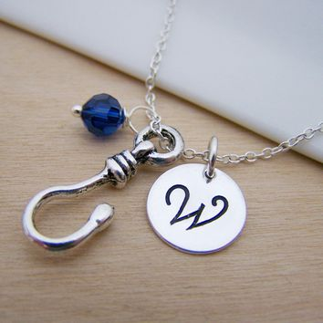 Fishing Hook Charm Swarovski Birthstone Initial Personalized Sterling Silver Necklace / Gift for Her