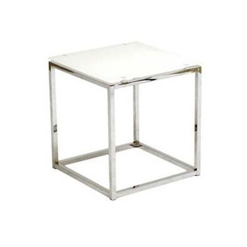 Eurostyle Sandor Square Glass Side Table w/ White Glass Top & Chrome