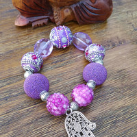 Glam Collection - One of a kind Silver Hamsa Charm/Mixed Purple Beaded Charms Hand Made