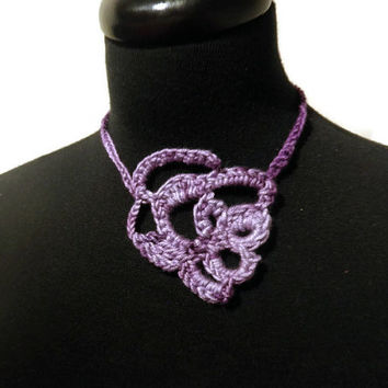 Purple wearable art, crochet choker necklace, one of a kind jewelry