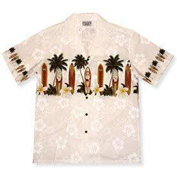 surfboard white hawaiian border shirt