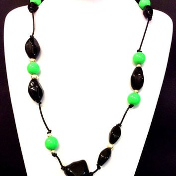 Black and Green necklace, Acrylic bead necklace,  black leather cord necklace, statement necklace, jewelry, women's gift