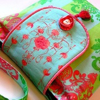 Pink and green summer and French inspired handmade cotton purse. | CarpetbaggerCreations - Bags & Purses on ArtFire