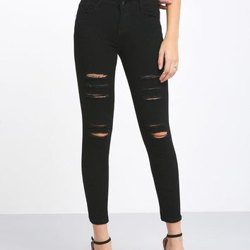 Black Ripped Ankle Skinny Jeans