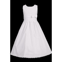 Girls Poly-Cotton Communion Dress w. Venice Lace & Floral Embroidery 5-12