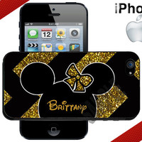 Minnie Mouse iPhone Case  Black and Gold Chevron by CrazianDesigns