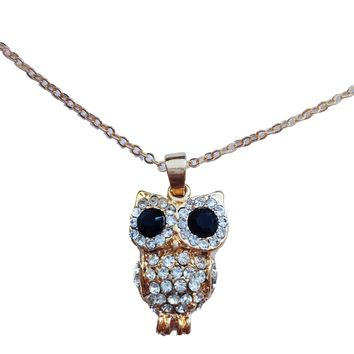 Jeweled Owl Pendant Necklace
