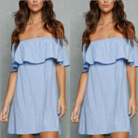 Blue Off Shoulder Loose dress B0014747