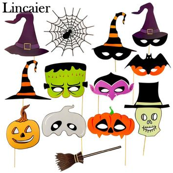 Lincaier Halloween Decoration Photobooth Props Horror Skull Pumpkin Mask for Kids Men Witch Bats Party Accessories Home
